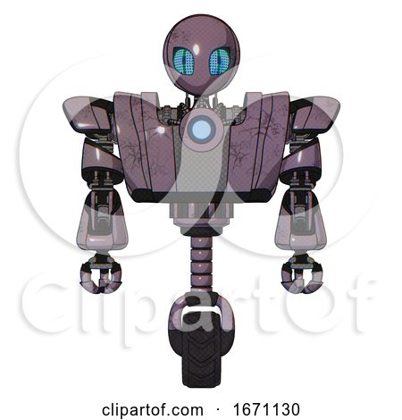 Droid Containing Grey Alien Style Head and Blue Grate Eyes and Heavy Upper Chest and Heavy Mech Chest and Blue Energy Fission Element Chest and Unicycle Wheel. Lilac Metal. Front View. by Leo Blanchette