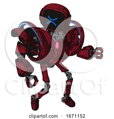 Robot Containing Digital Display Head and Wince Symbol Expression and Heavy Upper Chest and Heavy Mech Chest and Battle Mech Chest and Ultralight Foot Exosuit. Grunge Dots Royal Red. by Leo Blanchette
