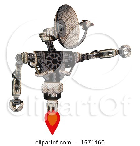Cyborg Containing Dual Retro Camera Head and Satellite Dish Head and Heavy Upper Chest and No Chest Plating and Jet Propulsion. Halftone Sketch. Pointing Left or Pushing a Button.. by Leo Blanchette