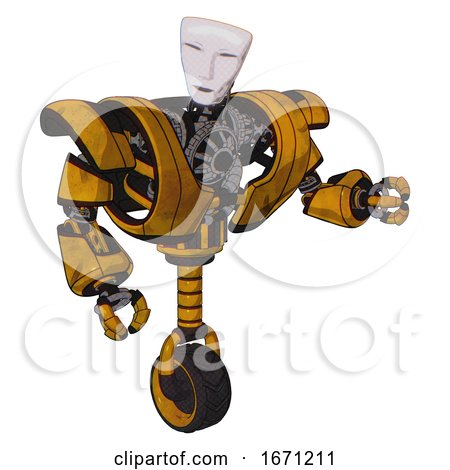 Droid Containing Humanoid Face Mask and Heavy Upper Chest and Heavy Mech Chest and Unicycle Wheel. Worn Construction Yellow. Fight or Defense Pose.. by Leo Blanchette
