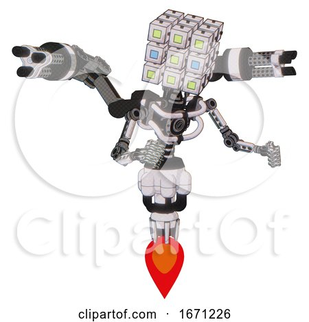 Robot Containing Dual Retro Camera Head and Cube Array Head and Light Chest Exoshielding and Minigun Back Assembly and No Chest Plating and Jet Propulsion. White Halftone Toon. Fight or Defense Pose.. by Leo Blanchette