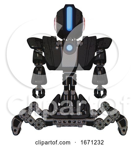 Automaton Containing Round Head and Large Vertical Visor and First Aid Emblem and Heavy Upper Chest and Heavy Mech Chest and Blue Energy Fission Element Chest and Insect Walker Legs. Dirty Black. by Leo Blanchette