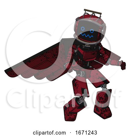 Droid Containing Digital Display Head and Stunned Expression and Led and Protection Bars and Light Chest Exoshielding and Ultralight Chest Exosuit and Pilot's Wings Assembly . by Leo Blanchette
