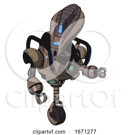 Droid Containing Flat Elongated Skull Head and Visor and Heavy Upper Chest and Chest Green Energy Cores and Blue Strip Lights and Unicycle Wheel. Khaki Halftone. Fight or Defense Pose.. by Leo Blanchette
