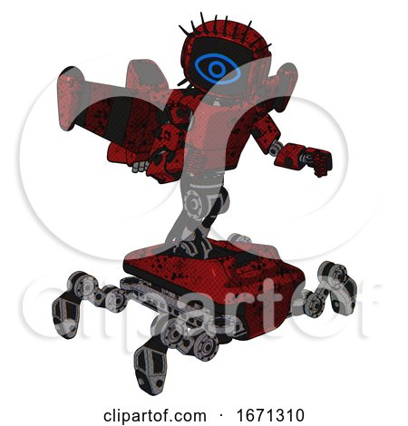 Bot Containing Digital Display Head and Large Eye and Eye Lashes Deco and Light Chest Exoshielding and Prototype Exoplate Chest and Stellar Jet Wing Rocket Pack and Insect Walker Legs. by Leo Blanchette