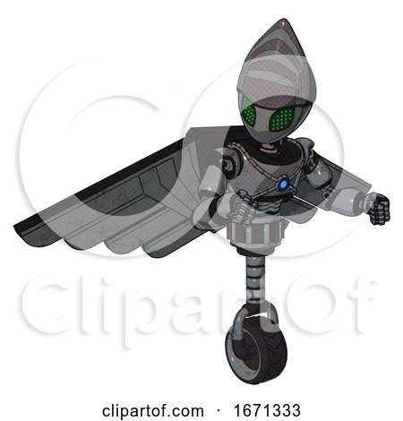 Bot Containing Grey Alien Style Head and Led Array Eyes and Light Chest Exoshielding and Blue Energy Core and Pilot's Wings Assembly and Unicycle Wheel. Patent Concrete Gray Metal. by Leo Blanchette
