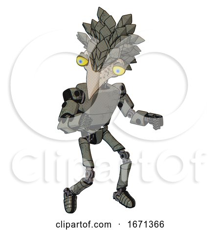 Mech Containing Bird Skull Head and Big Yellow Eyes and Bird Feather Design and Light Chest Exoshielding and Prototype Exoplate Chest and Ultralight Foot Exosuit. Concrete Grey Metal. by Leo Blanchette