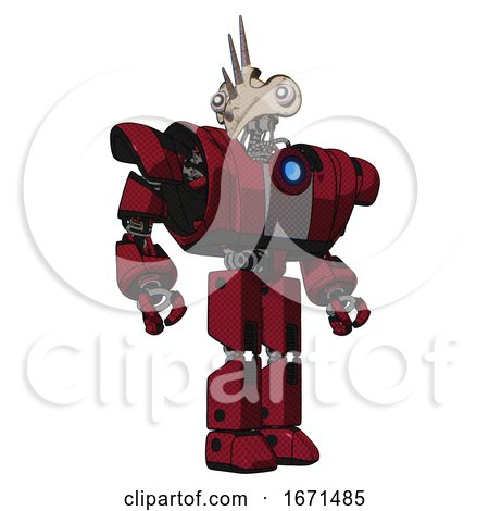 Bot Containing Bird Skull Head and White Eyeballs and Heavy Upper Chest and Heavy Mech Chest and Blue Energy Fission Element Chest and Prototype Exoplate Legs. Fire Engine Red Halftone. Hero Pose. by Leo Blanchette