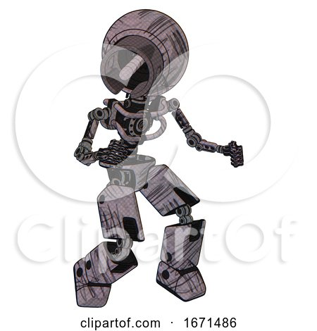 Bot Containing Cable Connector Head and Light Chest Exoshielding and No Chest Plating and Prototype Exoplate Legs. Dark Sketchy. Fight or Defense Pose.. by Leo Blanchette