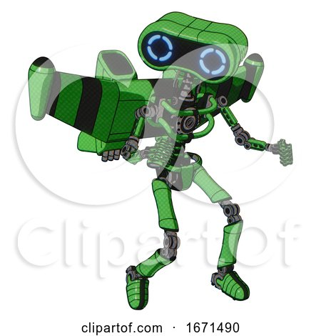 Mech Containing Dual Retro Camera Head and Retro 80's Head and Light Chest Exoshielding and Stellar Jet Wing Rocket Pack and No Chest Plating and Ultralight Foot Exosuit. Secondary Green Halftone. by Leo Blanchette