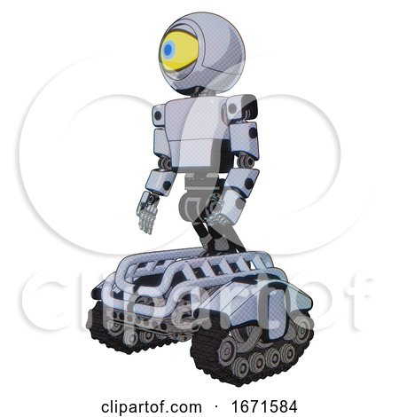 Bot Containing Giant Eyeball Head Design and Light Chest Exoshielding and Prototype Exoplate Chest and Tank Tracks. Blue Tint Toon. Facing Right View. by Leo Blanchette