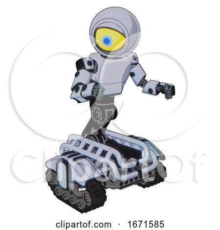 Bot Containing Giant Eyeball Head Design and Light Chest Exoshielding and Prototype Exoplate Chest and Tank Tracks. Blue Tint Toon. Fight or Defense Pose.. by Leo Blanchette