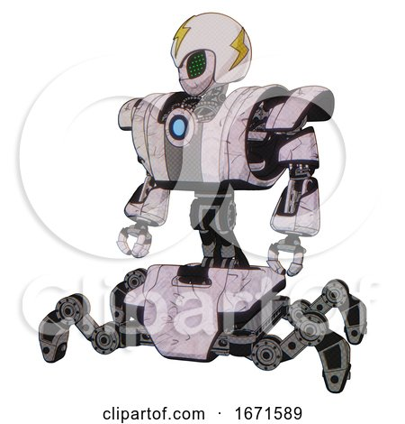 Robot Containing Grey Alien Style Head and Led Array Eyes and Lightning Bolts and Helmet and Heavy Upper Chest and Heavy Mech Chest and Blue Energy Fission Element Chest and Insect Walker Legs. by Leo Blanchette