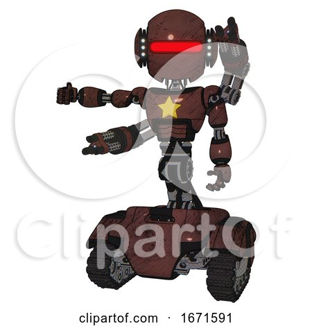 Android Containing Round Head and Horizontal Red Visor and Head Light Gadgets and Light Chest Exoshielding and Yellow Star and Minigun Back Assembly and Tank Tracks. Steampunk Copper. by Leo Blanchette