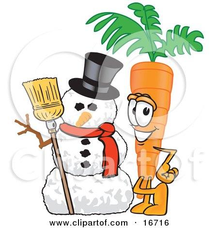 Orange carrot mascot cartoon character standing by a snowman