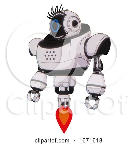 Mech Containing Digital Display Head and Circle Face and Eye Lashes Deco and Heavy Upper Chest and Jet Propulsion. White Halftone Toon. Standing Looking Right Restful Pose. by Leo Blanchette