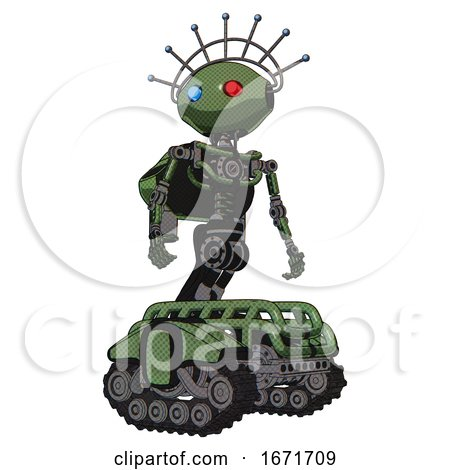 Robot Containing Oval Wide Head and Giant Blue and Red Led Eyes and Techno Halo Ornament and Light Chest Exoshielding and Rocket Pack and No Chest Plating and Tank Tracks. Grass Green. Hero Pose. by Leo Blanchette