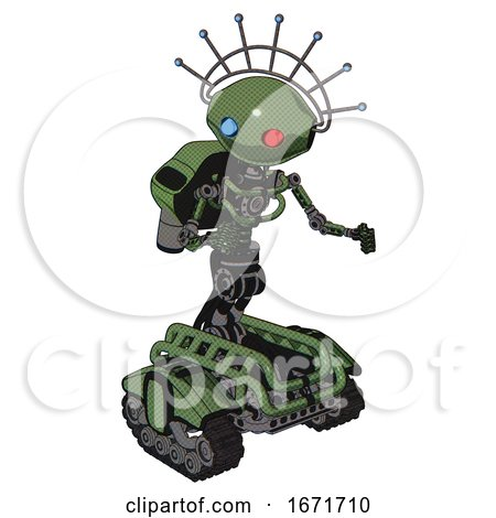 Robot Containing Oval Wide Head and Giant Blue and Red Led Eyes and Techno Halo Ornament and Light Chest Exoshielding and Rocket Pack and No Chest Plating and Tank Tracks. Grass Green. by Leo Blanchette