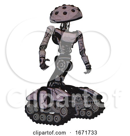 Robot Containing Black Sphere Cam Design and Light Chest Exoshielding and Ultralight Chest Exosuit and Tank Tracks. Dark Sketch Doodle. Hero Pose. by Leo Blanchette