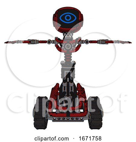 Bot Containing Digital Display Head and Large Eye and Light Chest Exoshielding and No Chest Plating and Tank Tracks. Grunge Dots Dark Red. T-pose. by Leo Blanchette