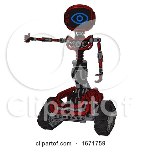 Bot Containing Digital Display Head and Large Eye and Light Chest Exoshielding and No Chest Plating and Tank Tracks. Grunge Dots Dark Red. Arm out Holding Invisible Object.. by Leo Blanchette