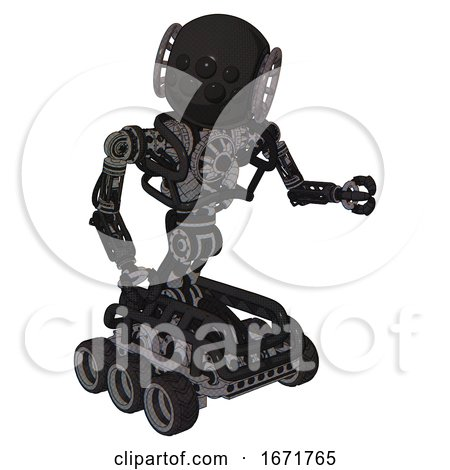 Android Containing Round Head and Bug Eye Array and Heavy Upper Chest and No Chest Plating and Six-wheeler Base. Clean Black. Fight or Defense Pose.. by Leo Blanchette