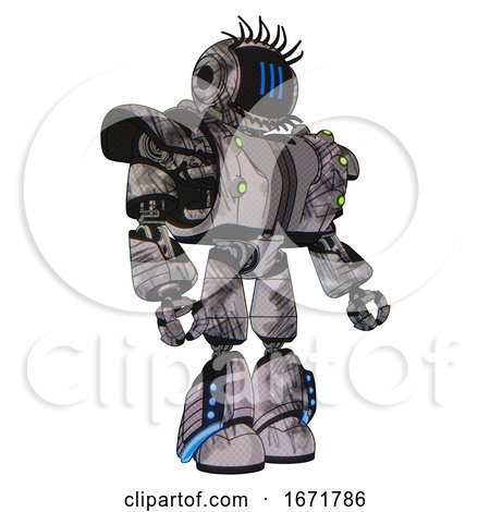 Mech Containing Digital Display Head and Three Vertical Line Design and Eye Lashes Deco and Heavy Upper Chest and Heavy Mech Chest and Green Cable Sockets Array . by Leo Blanchette