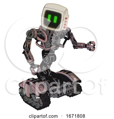 Bot Containing Old Computer Monitor and Pixel Line Eyes and Red Buttons and Heavy Upper Chest and No Chest Plating and Tank Tracks. Powder Pink Metal. Fight or Defense Pose.. by Leo Blanchette