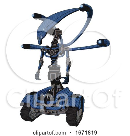 Cyborg Containing Flat Elongated Skull Head and Light Chest Exoshielding and Blue-eye Cam Cable Tentacles and No Chest Plating and Tank Tracks. Blue Halftone. Standing Looking Right Restful Pose. by Leo Blanchette