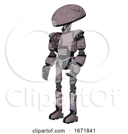 Robot Containing Dome Head and Light Chest Exoshielding and Chest Valve Crank and Ultralight Foot Exosuit. Dark Sketch Doodle. Facing Right View. by Leo Blanchette