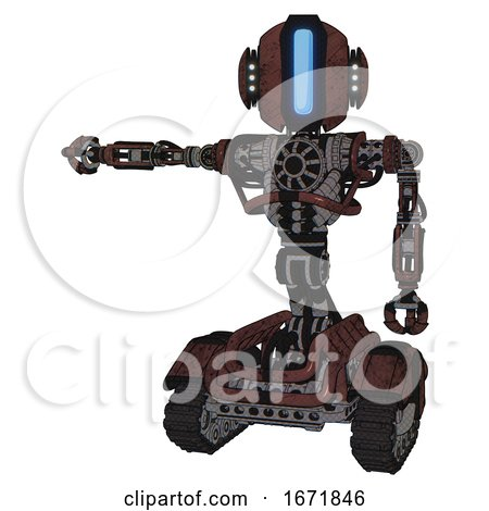 Automaton Containing Round Head and Large Vertical Visor and Head Light Gadgets and Heavy Upper Chest and No Chest Plating and Tank Tracks. Steampunk Copper. Arm out Holding Invisible Object.. by Leo Blanchette
