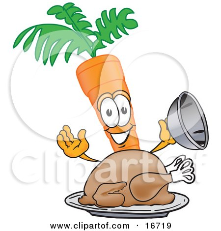 Orange carrot mascot cartoon character serving a cooked thanksgiving