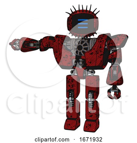 Droid Containing Digital Display Head and Three Horizontal Line Design and Eye Lashes Deco and Heavy Upper Chest and Heavy Mech Chest and Prototype Exoplate Legs. Grunge Dots Dark Red. by Leo Blanchette