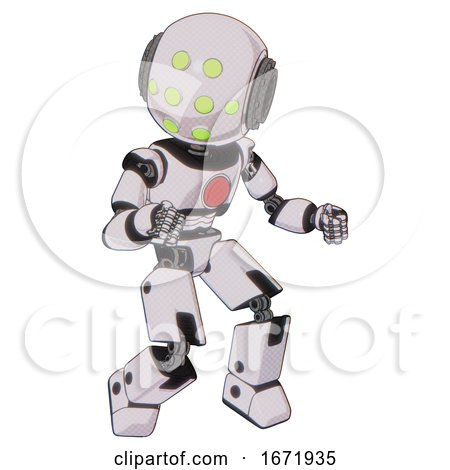 Cyborg Containing Round Head and Green Eyes Array and Light Chest Exoshielding and Red Chest Button and Prototype Exoplate Legs. White Halftone Toon. Fight or Defense Pose.. by Leo Blanchette