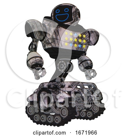 Automaton Containing Digital Display Head and Wide Smile and Heavy Upper Chest and Colored Lights Array and Tank Tracks. Scribble Sketch. Hero Pose. by Leo Blanchette
