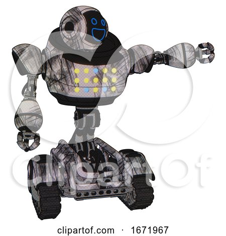 Automaton Containing Digital Display Head and Wide Smile and Heavy Upper Chest and Colored Lights Array and Tank Tracks. Scribble Sketch. Pointing Left or Pushing a Button.. by Leo Blanchette