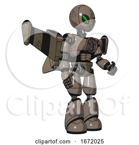 Robot Containing Grey Alien Style Head and Green Demon Eyes and Light Chest Exoshielding and Chest Valve Crank and Stellar Jet Wing Rocket Pack and Light Leg Exoshielding. Patent Khaki Metal. by Leo Blanchette