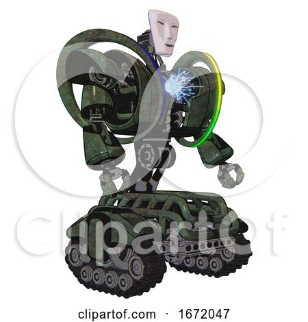 Droid Containing Humanoid Face Mask and Heavy Upper Chest and Heavy Mech Chest and Spectrum Fusion Core Chest and Tank Tracks. Old Corroded Copper. Facing Left View. by Leo Blanchette