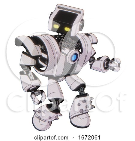 Bot Containing Dual Retro Camera Head and Retro Tech Device Head and Heavy Upper Chest and Heavy Mech Chest and Blue Energy Fission Element Chest and Light Leg Exoshielding and Spike Foot Mod. by Leo Blanchette
