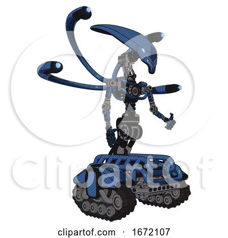 Cyborg Containing Flat Elongated Skull Head and Light Chest Exoshielding and Blue-eye Cam Cable Tentacles and No Chest Plating and Tank Tracks. Blue Halftone. Facing Left View. by Leo Blanchette