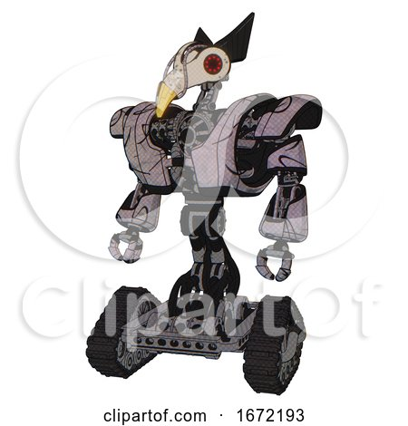 Robot Containing Bird Skull Head and Red Led Circle Eyes and Robobeak Design and Heavy Upper Chest and Heavy Mech Chest and Tank Tracks. Dark Sketch Doodle. Standing Looking Right Restful Pose. by Leo Blanchette