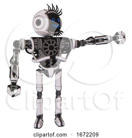 Cyborg Containing Digital Display Head and Stunned Expression and Eye Lashes Deco and Heavy Upper Chest and No Chest Plating and Ultralight Foot Exosuit. White Halftone Toon. by Leo Blanchette