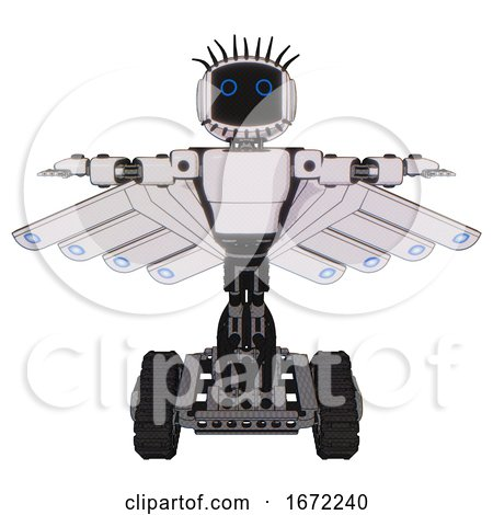 Automaton Containing Digital Display Head and Circle Eyes and Eye Lashes Deco and Light Chest Exoshielding and Prototype Exoplate Chest and Cherub Wings Design and Tank Tracks. White Halftone Toon. by Leo Blanchette