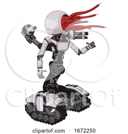 Mech Containing Bright Red Jellyfish Tentacles Fiber Optic Design and Light Chest Exoshielding and Ultralight Chest Exosuit and Minigun Back Assembly and Tank Tracks. White Halftone Toon. Interacting. by Leo Blanchette