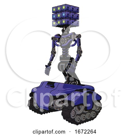 Mech Containing Dual Retro Camera Head and Cube Array Head and Light Chest Exoshielding and No Chest Plating and Tank Tracks. Primary Blue Halftone. Facing Right View. by Leo Blanchette