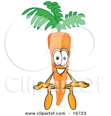 Clipart Picture of an Orange Carrot Mascot Cartoon Character Sitting by Toons4Biz