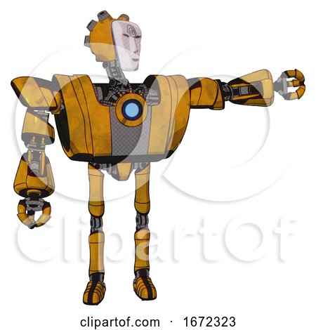 Mech Containing Humanoid Face Mask and Spiral Design and Heavy Upper Chest and Heavy Mech Chest and Blue Energy Fission Element Chest and Ultralight Foot Exosuit. Worn Construction Yellow. by Leo Blanchette