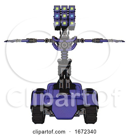 Mech Containing Dual Retro Camera Head and Cube Array Head and Light Chest Exoshielding and No Chest Plating and Tank Tracks. Primary Blue Halftone. T-pose. by Leo Blanchette