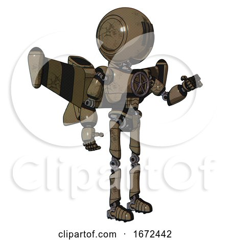 Bot Containing Round Head and Three Lens Sentinel Visor and Light Chest Exoshielding and Chest Valve Crank and Stellar Jet Wing Rocket Pack and Ultralight Foot Exosuit. Desert Tan Painted. by Leo Blanchette