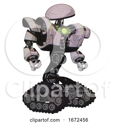 Bot Containing Dome Head and Heavy Upper Chest and Heavy Mech Chest and Green Energy Core and Tank Tracks. Sketch Pad Dots Pattern. Hero Pose. by Leo Blanchette
